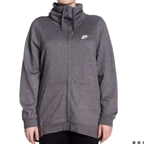a296f6b3b3f Nike Womens Plus Funnel Neck Zip Up Sweatshirt